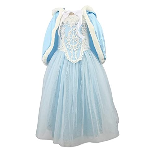 Princess Girls Blue Costume Cosplay Fancy Party Girls Wedding Dress with Fur Trim Cape (4-5years, blue) by discoball