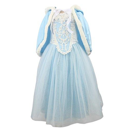 Discoball Prinzessin Kostüm Eiskönigin Elsa Anna Karneval Weihnachten Halloween Cosplay Party Verkleidung mit Pelzbesatz Cape (5-6Jahre, Blau)