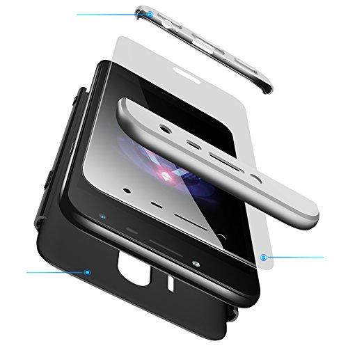 Karomenic 360 Grad Hülle + Panzerglas kompatibel mit Huawei Nova 2 Hart PC Schutzhülle 3 in 1 Full Body Rundumschutz Stoßfest Ganzkörper Bumper Handyhülle Hardcase Cover,Silber Schwarz - 3-tier-beleuchtung