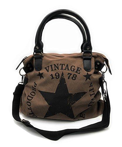 JillyMode hochwertige Damen Handtasche XL mit Stern aus Canvas mit Schulterriemen 45x32cm (H118-5931-Brown)