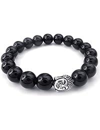 KONOV Joyería Pulsera de hombre mujer, 10mm Energía Bola, Budismo Budista Cuentas Mala, Ágata Ónix Aleación, Color negro plata (con bolsa de regalo)