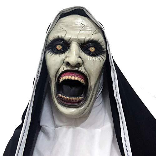 Party Clown Kostüm Stadt - Liyan Halloween Nonnen reinigen Maske Creepy Haunted House Prop Bloody Zombie Gesicht Trick Cosplay Kostüm,White