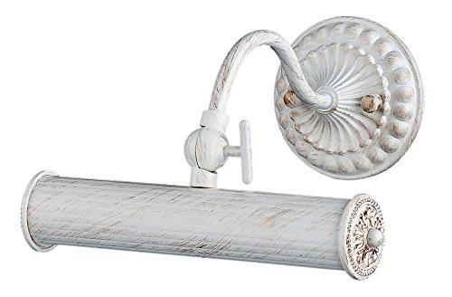 Antike Wandleuchte für Bilder,  weiße Lackirung des Metalls mit Patina, 1-flammig exkl. E14 25W 220V-240V