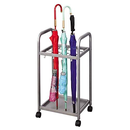 LXD Schirmständer - Silbergrauer Metall-Schirmständerhalter mit herausnehmbarer Auffangschale & Amp; 8 Haken, können überall bewegt werden -