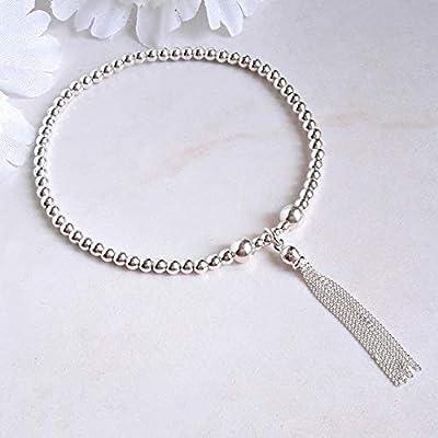 Bracelet avec pompon et perles, argent massif, Cadeau original pour femme