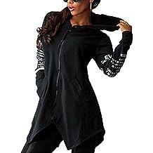 Minetom Sweatshirt Maniche Lunghe Con Cappuccio Donna Cerniera Hoody Giacca Bordo Irregolare Felpe