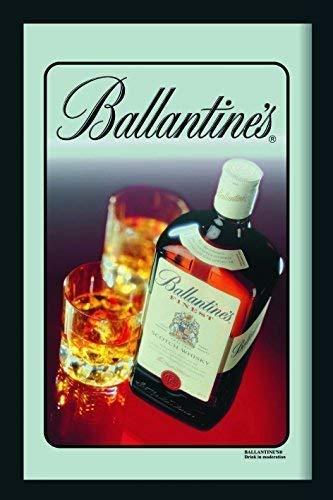 Ballantines Finest Scotch Whisky with Glasses Nostalgie Barspiegel Spiegel Bar Mirror 22 x 32 cm -