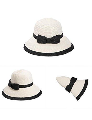 Chapeau de soleil chapeau Femme été bob Big gouttières chapeau de paille chapeau de soleil Sunscreen pliable chapeau d'été chapeau de plage Plage Cap ( Couleur : 1 ) 1