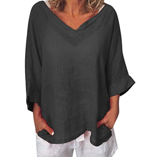 Selou Damen Casual Kurzarm Leinen T-Shirt Lose Pullover Top Bluse, Sommer Kleidung für Frauen, Weiss Crop Tops Strickjacke Poloshirts Damen