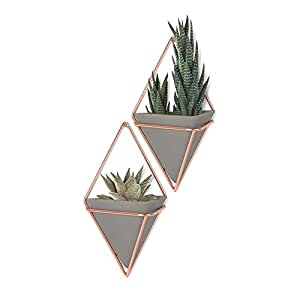 Umbra Trigg Hanging Planter Vase & Geometric Wall Decor Container - Great For Succulent Plants, Air Plant, Mini Cactus, Faux Plants and More, Concrete Resin/Copper (Set of 2)