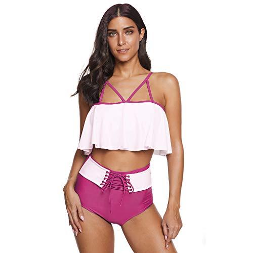 Conjuntos de Bikinis para Mujer bañadores Mujer Tallas Grandes Volantes Top Bikini Push Up Braga Triangulo...