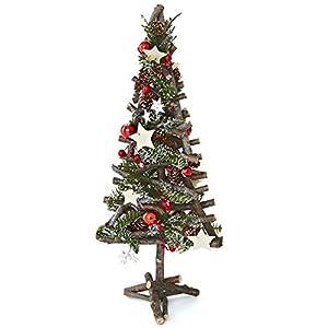 Heitmann Deco dekorierter und beschneiter Weihnachts-Baum - rustikal- rot- geschmückt-  natürliche Weihnachtsdekoration