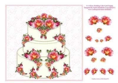 8 x 8 cm, colore: pesca, Rose Wedding Cake Topper per Decoupage biglietti di Sheldrake Elaine