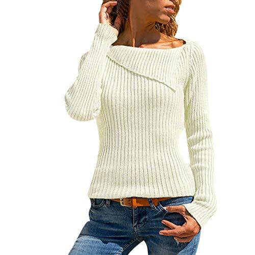 Wraluhen Frauen-beiläufige Feste Lange Hülse drehen unten Kragen-Strickpullover Oberseiten-Bluse Damen Slim Ausschnitt Kurzarmshirt Tank Top Sexy Crop Top Bluse Einfarbig