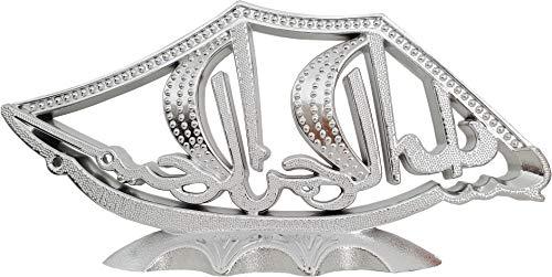 Islamische Dekoration Allah Muhammed - in Silber mit Diamantimitat verziert - Orientalische Wohnzimmer Deko mit hochwertigem Look - 20x11cm - für Kommode Schränke Regale - als Geschenk geeignet