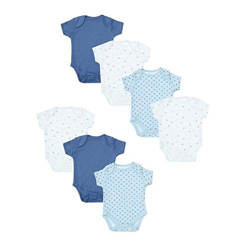 Mothercare Baby-Jungen Formender Body Blue 7 Pack Short Sleeve Bodysuits New, Multicolour (Lights Multi), Neugeborene (Hersteller Größe:50)