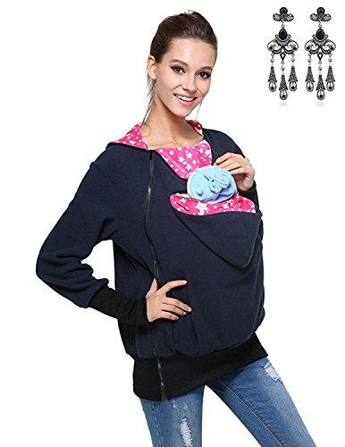Modetrend Damen Tragejacke für Mama und Baby 3in1 Känguru Jacke Mutterschaft Kapuzen-Sweatshirt Multifunktions-Frauen-Strickjacke-Oberbekleidung Umstandsjacke (Mutterschaft-jacke)