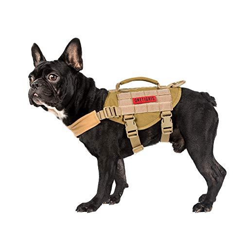 OneTigris MOLLE Taktisches Welpengeschirr Einstellbar Weich Geschirr für Kleine Hunde Welpen Wandern/Walking Outdoor-Aktivitäten (Coyote Braun)  MEHRWEG Verpackung -