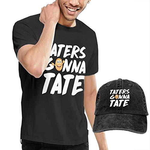 Quitelike Taters Gonna Taste Funny Potato Men's Cotton T-Shirt with Round Neck with Adjustable Baseball Cap Herren T-Shirts mit Mütze (Flipper-tasten)