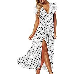 ACHIOOWA Mujer Vestido Elegante Casual Playa Bohemio Dress Lunares Cuello V Manga Corta Escote Fiesta Cóctel Falda Larga Blanco S