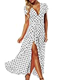 ACHIOOWA Femme Sexy Boho Robe Longue Col V Manches Courtes Maxi Robe de Plage Soirée Cocktail Blanc XL