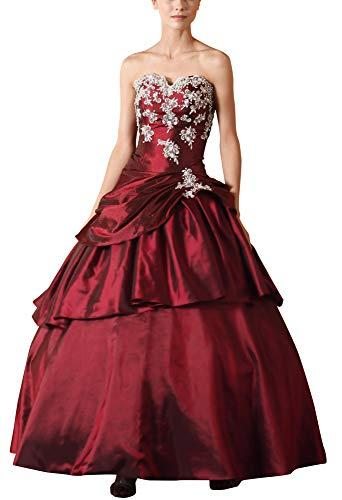 Romantic-Fashion Damen Ballkleid Abendkleid Lang Brautkleid Modell E615-E619 A-Linie TAFT Perlen Pailletten DE Rot Größe 44 (Taft Perlen)