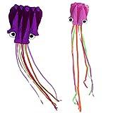 TOYMYTOY 2 stücke Drachen Flugspielzeug Kinder Octopus Kite Outdoor Tragbare Fliegen Spielzeug mit 30 mt String (Orang und Lila)