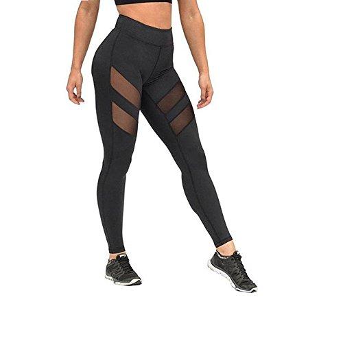 FEITONG Frauen Hohe Taille Skinny Leggings Mesh Patchwork Yoga Hosen (Schwarz, XL) (Roll-down-yoga-hosen)