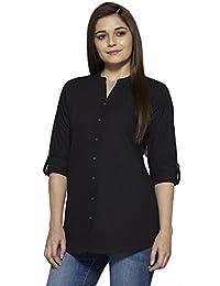Pistaa Women's Black Solid Cotton Short Top Kurti