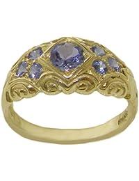 Solid 9ct Yellow Gold Natural Tanzanite Vintage Style Band Ring