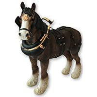 Leonardo Shire Horse With Harness Ornament, Length 23cm