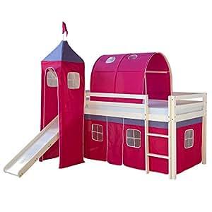 Homestyle4u culla lettino letto a castello letto a tendina gioco doghe scivolo torre - Letto castello amazon ...