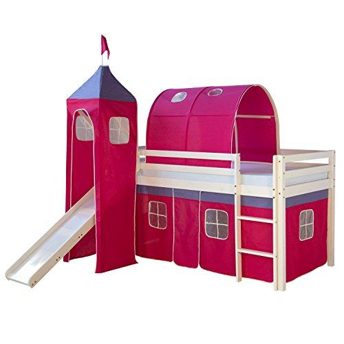 Homestyle4u Hochbett Kinderbett Spielbett Kinderhochbett Vorhang Rutsche Turm Tunnel
