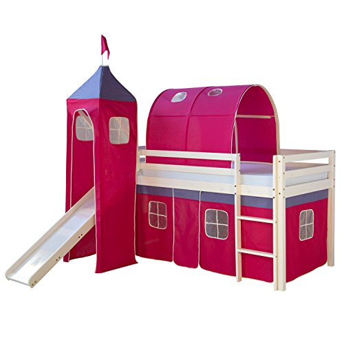 *Homestyle4u Hochbett Kinderbett Spielbett Kinderhochbett Vorhang Rutsche Turm Tunnel*