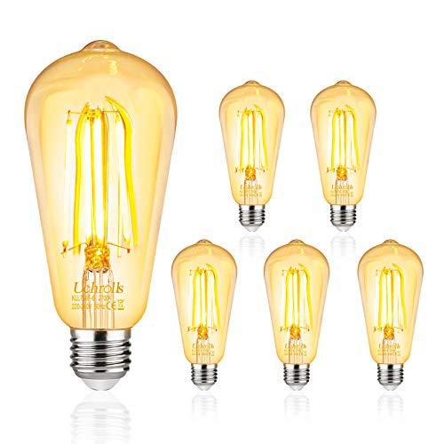 Uchrolls 5er Pack E27 LED Lampe 6W, Ersetzt 60W Glühlampen, 800LM, Warmweiß 2700K, ST58 E27 Edison Vintage Glühbirne, Filamentstil Klar,Nicht Dimmbar -