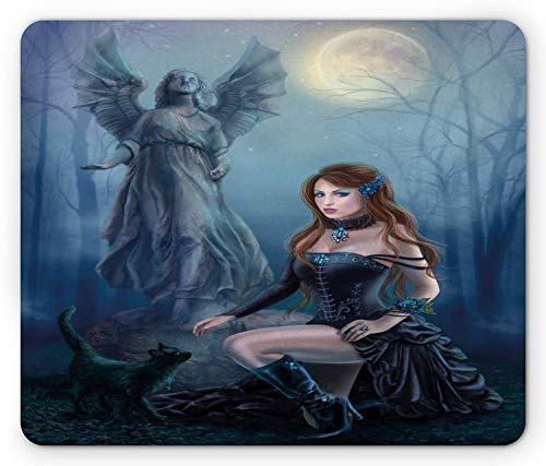 Vampire Mouse Pad, Fantasy Woman with Black Cat About an Angel Statue Mysterious Woods Gothic Print, Standard Size Rectangle Non-Slip Rubber Mousepad, Multicolor