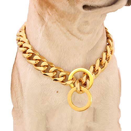 MUJING 17 mm Breite Hip Hop Gold Ton Cut Curb Cuban Link 316L Edelstahl Dog Choke Kette Kragen 30-86 cm,L (Gold Dog Choke-kette)