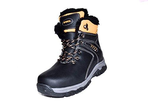 TMY-b/4598–2648 enfant winterboots bottes à lacets et fermeture éclair-couleur :  noir/taille :  26–37 camel Multicolore - Schwarz/ Camel