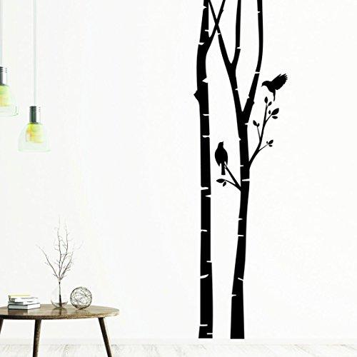Neu Tjapalo® S Pkm112 Wandtattoo Banner Baum Vögel Floral Deko Streifen  Flur Wohnzimmer Aufkleber Wandsticker (Höhe 140cm)