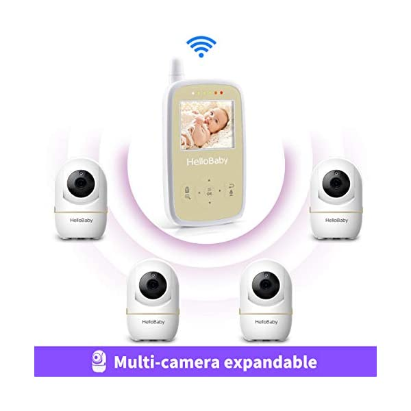 "HelloBaby HB248 Video Baby Monitor with Remote Camera Pan-Tilt-Zoom, 2.4'' Color LCD Screen, Infrared Night Vision, Temperature Monitoring, Lullaby, Two Way Audio, Includes Wall-mounting Parts HELLO BABY 2.4"" LCD DISPLAY & 2.4GHz WIRELESS TECHNOLOGY: This video baby monitor is equiped with a 2.4 inch TFT LCD display. Application of frequency hopping and digital encryption technology ensures secure and reliable connection. REMOTE PAN TILT and ZOOM: Remote control camera rotate 355° in horizontal and 120° vertical ensuring you always have a clear view of your baby from any angle. TWO WAY TALK: The crystal clear two-way audio feature allows conversation both ends as clear as if you were in the same room with your little one. 7"