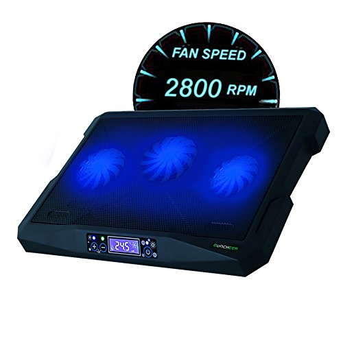 Notebook Kühler 12-17 Zoll Laptop Kühler Ständer Gaming Laptop Kühler Pad Tragbare Ultra-Slim Leise mit Auto / Manul Modi,3 Lüfter Belüfteter 2 USB-Port Stromversorgung Cooling Pad-Schwarz