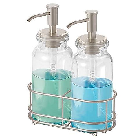 Distributeur de savon mDesign à pompe en verre pour meubles