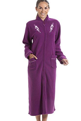 Robe de chambre - polaire douce/chaude - fermeture Éclair à l'avant - violet 46/48