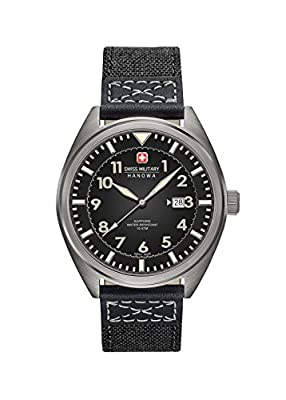 Swiss Military SM34521AEU/H02 - Reloj de cuarzo para hombres con esfera negra y correa negra de tela de Swiss Military