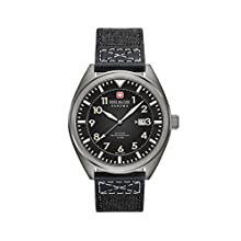 Swiss Military Men's SM34521AEU/H02 Quartz Watch with Black Dial Analogue Display and Fabric Strap