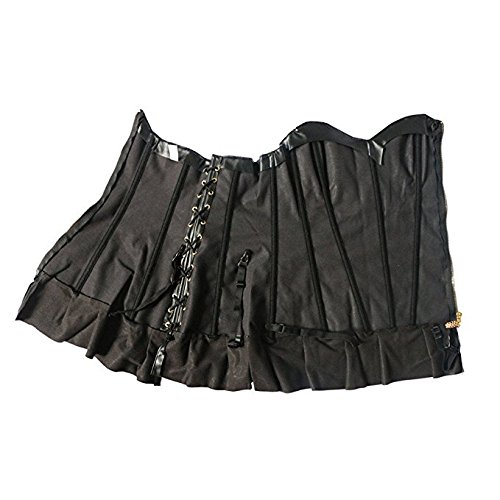 Corsetto Steampunk PU donna in ecopelle Bustier Lungo zip Lingerie Gothic Punk Clubwear Sexy Gold