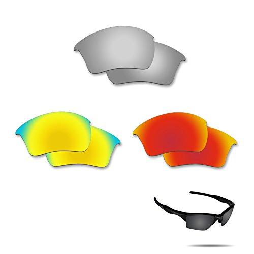 fiskr anti-saltwater Polarisierte Ersatz Gläser für Oakley Half Jacket 2.0XL 3Paar Pack, Metallic Silver & Fire Red & 24K Gold
