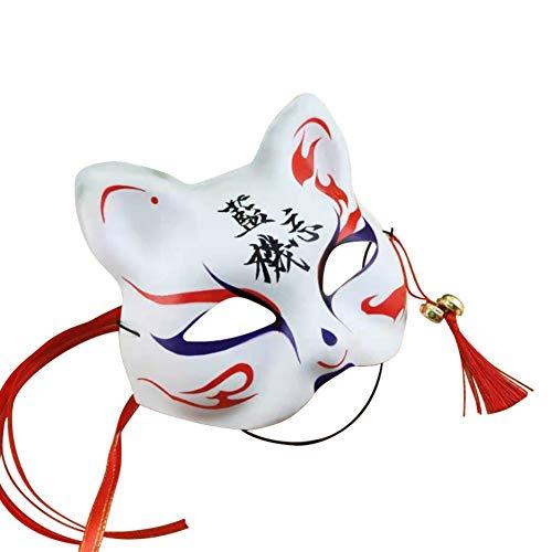 Japanischen Stil Anime Fox Maske mit Quasten und Glöckchen obere Hälfte Gesicht bedeckt für Erwachsene und Kinder Maskeraden Festival Kostüm Party - Japanische Kostüm Kinder
