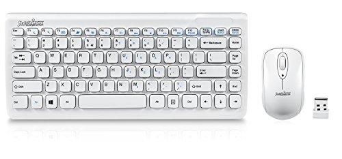Perixx PERIDUO-707 W IT Tastiera e Mouse Wireless - Demensione Mini - Layout Italiano - Nano Ricevitore USB - Bianco - AES 128 bits