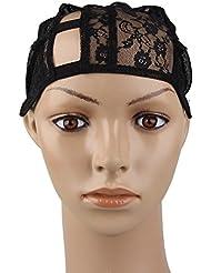 Beauty7 Wig Cap Cap de Perruque Gauche U-Part Wig Noir Casquette de Base avec Sangle Reglable - M Taille - Chapeau pour Extension de Cheveux Filet A Cheveux Chapeaux Bonnet Perruque Deguisement DIY Mesh Dome Cap